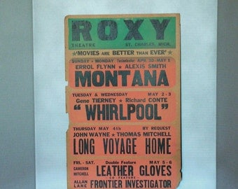Vintage Movie Poster, RoxyMovie Theatre, Michigan, 1950