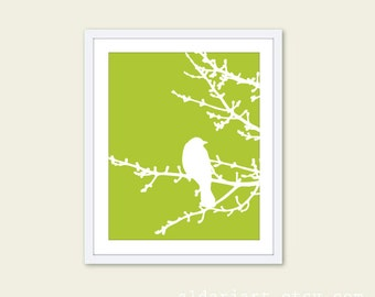Spring Bird on Tree Art Print - Green and White - Spring Home Decor - Modern Bird Art - Woodland Branches - Perched Bird on Twig -