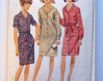 Simplicity 6698 -1966 Button Front Belted Dress Pattern - Size 16 Bust 36 - Short or Long Sleeve Belted Dress - Vintage Sewing Pattern