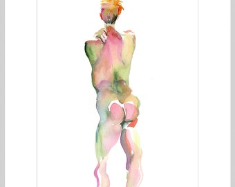 Original Watercolor Painting, 25% OFF SALE, framed, life drawing, male, nude, back, standing, man, figure, wall art, home decor, gift, green