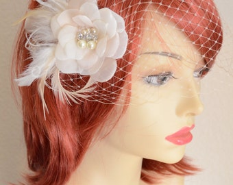 MADE TO ORDER Set,Veil and Headpiece,Champagne,ivory,white flower,Flower with feathers,Birdcage veil and fascinator, Style C058
