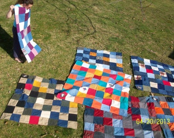 Mystery Eco friendly denim picnic blanket packed with stories by Claudia Fill