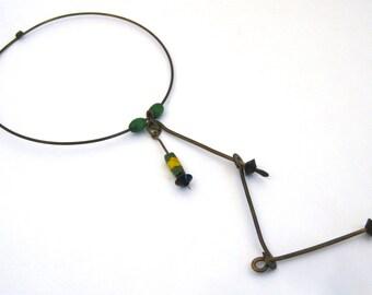 Vintage 60s Mid Century Modernist Bronze Studio Jewelry Collar Ring Necklace