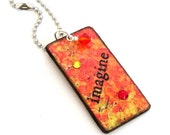 Decoupaged Keychain Wood Key Chain Inspirational Word Imagine Crystal Yellow Orange Gift for Her Under 10