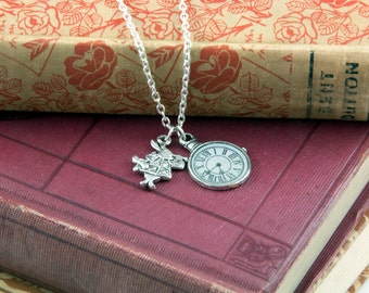 White Rabbit & Pocket Watch Necklace - Alice in Wonderland Jewellery
