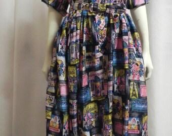 50s Novelty Dress / 1950s Silk Dress/ Conversational  print dress/ L