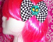 Checker - Hand Painted - Green Skull - Big Bow - Black and white - Clip - One of a kind