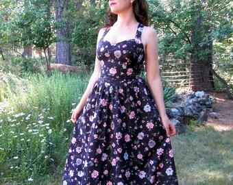 vintage Sun dress Lanz cotton Floral vintage dress S/M