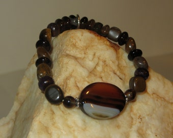 Agate Stretch Bracelet with Tiger Eye and Agate Beads with Cross Charm and Daisy Spacers