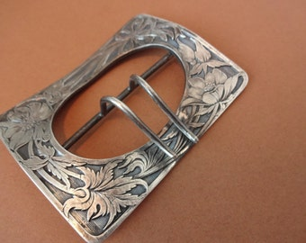Scrolled Nouveau Victorian Sash Buckle in Silver Plate