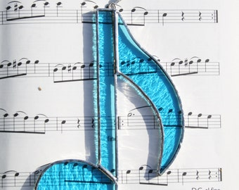 Stained Glass Music Note Suncatcher Blue Quaver Musical Decor Christmas Gift Teacher Thank you Music Lover