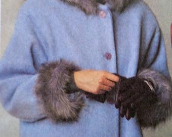 Fur Trimmed Long Coat Pattern McCalls 3447 Size L & XL Warm Jacket Coat with Hood Patch Pockets UNCUT