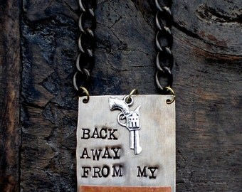 Back Away From My Bourbon ® Bottle Tag. The Riveted Series. Layered Metal. Original Design by Kelly Galanos. CUSTOM Metal Bottle Tags