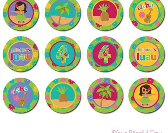 PRINTABLE Personalized Luau Party Circles (Character of your choice) #549