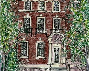 Custom House Portrait Townhouse Condo - Original Watercolor or Penand Ink, Painting of Homes ,Buildings,Churches,Bed&Breakfasts,Storefronts