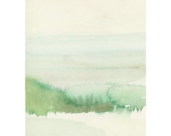 Fine art print landscape watercolor painting green shore The Dutch Wadden Sea Islands