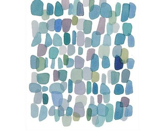 original art sale, Raindrops, Original Watercolor painting Abstract little painting blue green dots