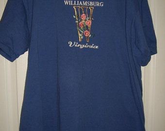 Vintage, Williamsburg Virginia Embroidered Tee Shirt, by Nana's Vintage Shop