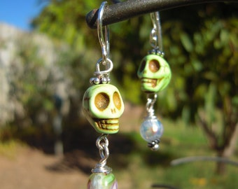 Dia de los Muertos Skull Earrings - Glass Beads