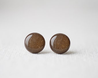Brown with Shimmering Gold Stud Earrings BUY 2 GET 1 FREE