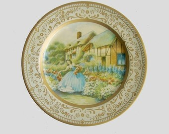 Painted Metal Plate, Willow Plate Ware, Made in Australia, Garden Pattern, Decorative Plate, Cottage Chic, Thatched Roof, Crinoline Lady