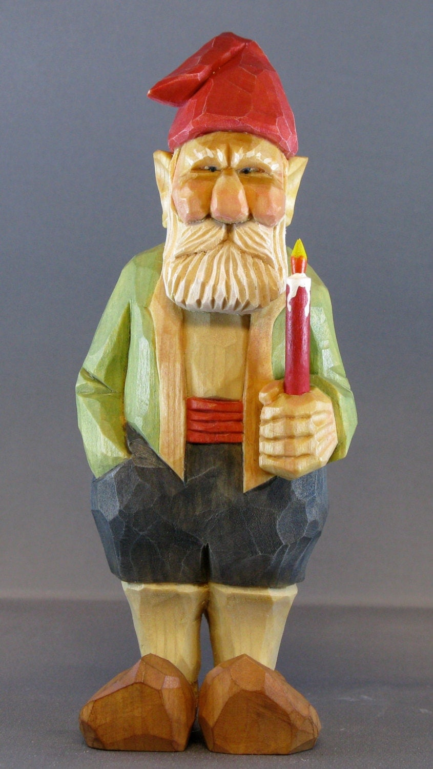 Christmas wood carving gnome candle caricature nordic