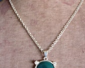 Green Agate Stone on Sterling Silver Necklace