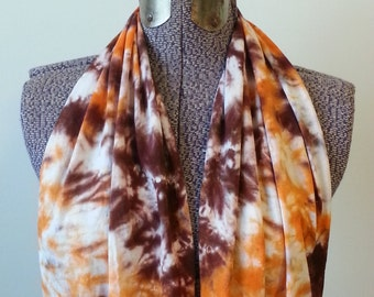 PREORDER !! Tie Dye Infinity Scarf -- Orange and Chocolate Brown