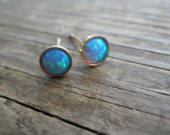 Opal Stud Earrings, Classic Large 5mm 14k Gold Filled Studs, Blue Opal, Gold Opal Posts, Statement Gift, October Birthstone, Bridal Jewelry