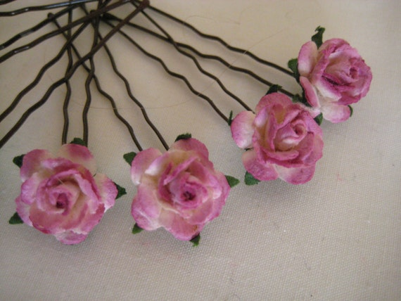 Raspberry/Plum Rose Hairpins x 8. Wedding, Bridal, Regency, Victorian