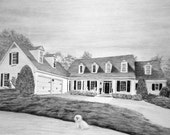 Custom Home Drawing From Your Photo - 8x10 Original House Pencil Landscape Sketch Art From Picture