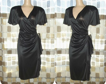 Vintage 70s Dress | 1970s Wrap Dress | Draped & Ruched With Hip Swag | Size 9/10 M/L | NWT NOS