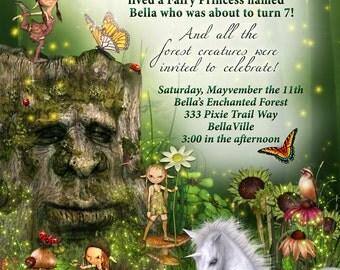 Fairy Forest Unicorn Birthday Party Invitation, Woodland ...