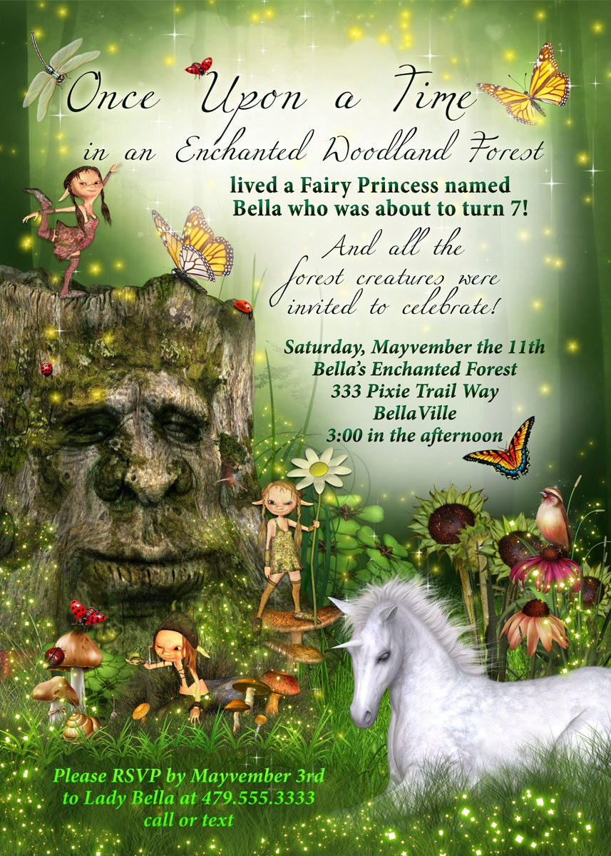 Fairy Forest Unicorn Birthday Party Invitation Woodland Fairy