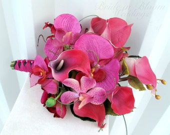 Hot pink calla lily orchid Wedding bouquet Bridesmaid bouquet