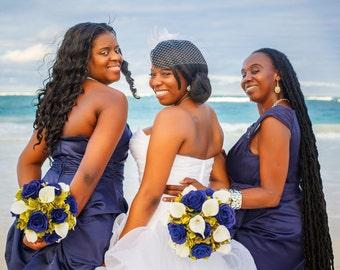 6 piece Wedding bouquet set Navy blue rose Sage green White calla lily Bridal Flowers