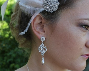 Champagne Wedding Earrings, Crystal Earrings, Chandelier Bridal Earrings, Bridal Jewelry, REBECCA