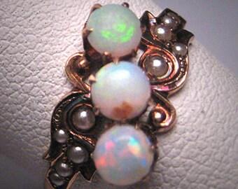 Antique Victorian Australian Opal Rose Gold Pearl Ring Rare 19th Century Wedding