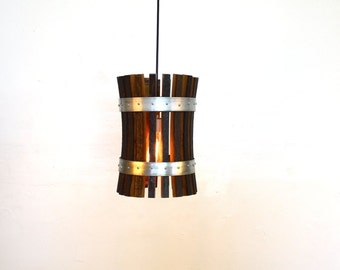 "Wine Barrel Pendant Light - CRAFTSMAN - ""Pasadena"" - 100% RECYCLED"