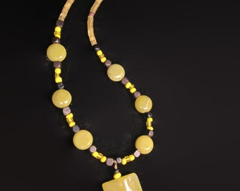 Chartreuse Serpentine Stone Hand Beaded Necklace with Wood Beads and Lemon Yellow Glass Seed Beads