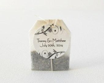 Personalized Organic Herbal Tea Favors - Vine Design - wedding guest favors, tea favors, customizable bridal tea favors - love is brewing