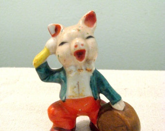 Vintage Ceramic Pig Playing Drum Japan