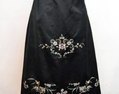 RESERVED Vintage 1920's Black Silk and Floral Embroidered Skirt