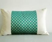 Teal Brocade Patchwork Lumbar Pillow , Brocade Cushion , Housewares , Decor Pillow