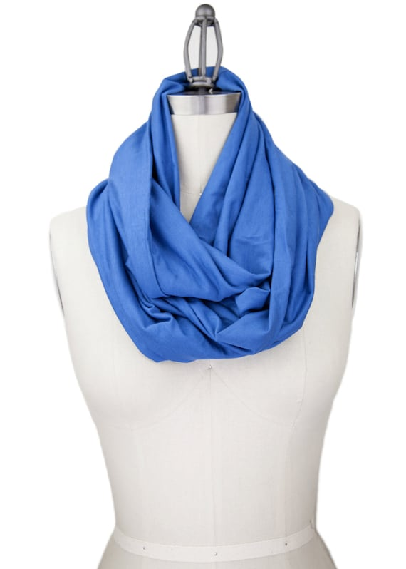 blue infinity scarf jersey scarf chunky blue by gertiebaxter