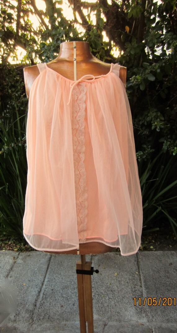 Vintage Bright Tangerine Baby Doll Short Nightie By