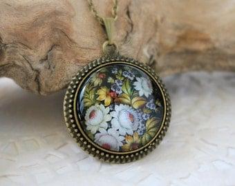 Bunch of Flowers Necklace, Zhostovo Russian Folk Art, Antique Bronze  Pendant, Floral Jewelry