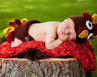 PDF Crochet Pattern Newborn Turkey Hat and Diaper Cover Set Newborn Photo Prop First Thanksgiving Autumn Fall Lil Gobbler Newborn 3 Months
