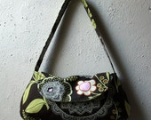 Small Purse - Amy Butler Lacework, Chocolate Brown with Green, Ivory and Pink