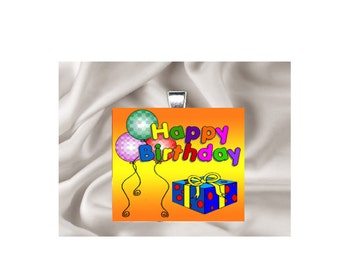 Scrabble Tile Pendant Necklace Happy Birthday